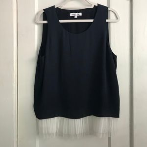 Elizabeth and James Navy Top w/ Tulle | Size XL